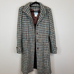 Marciano Woolblend Brown/Blue Button Up Pea Coat